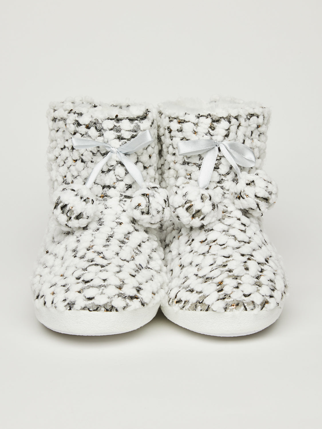 Popcorn Knit Slipper Booties
