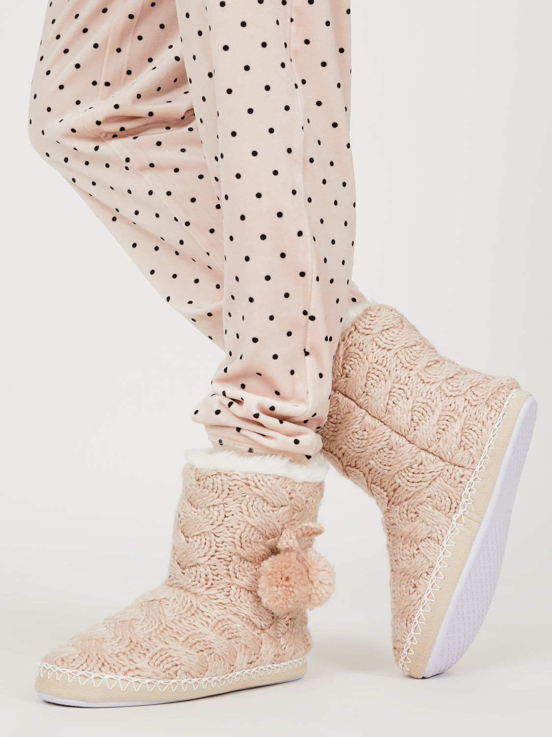 Metallic Pom Pom Slipper Booties