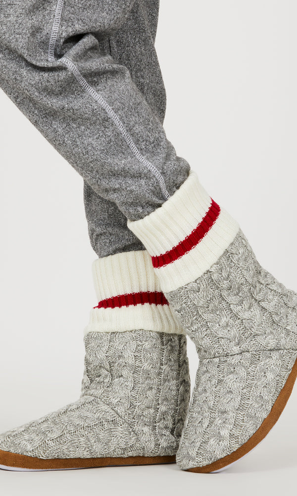 Tall Chalet Cable Knit Slipper Booties