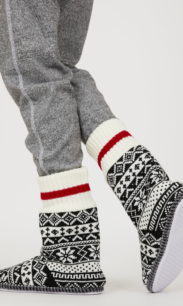 Tall Chalet Fair Isle Slipper Booties