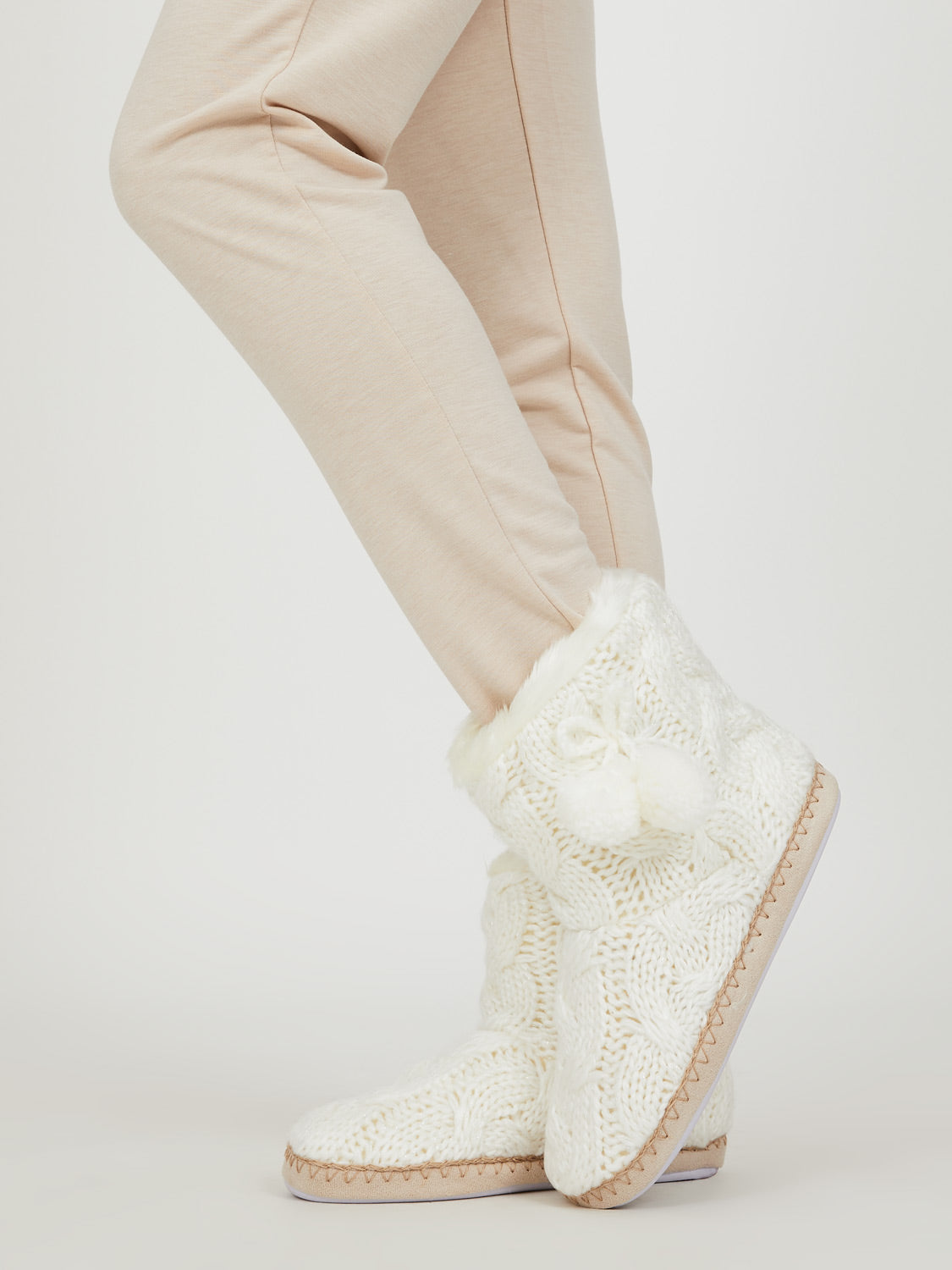 Metallic Knit Pom Pom Bootie Slippers