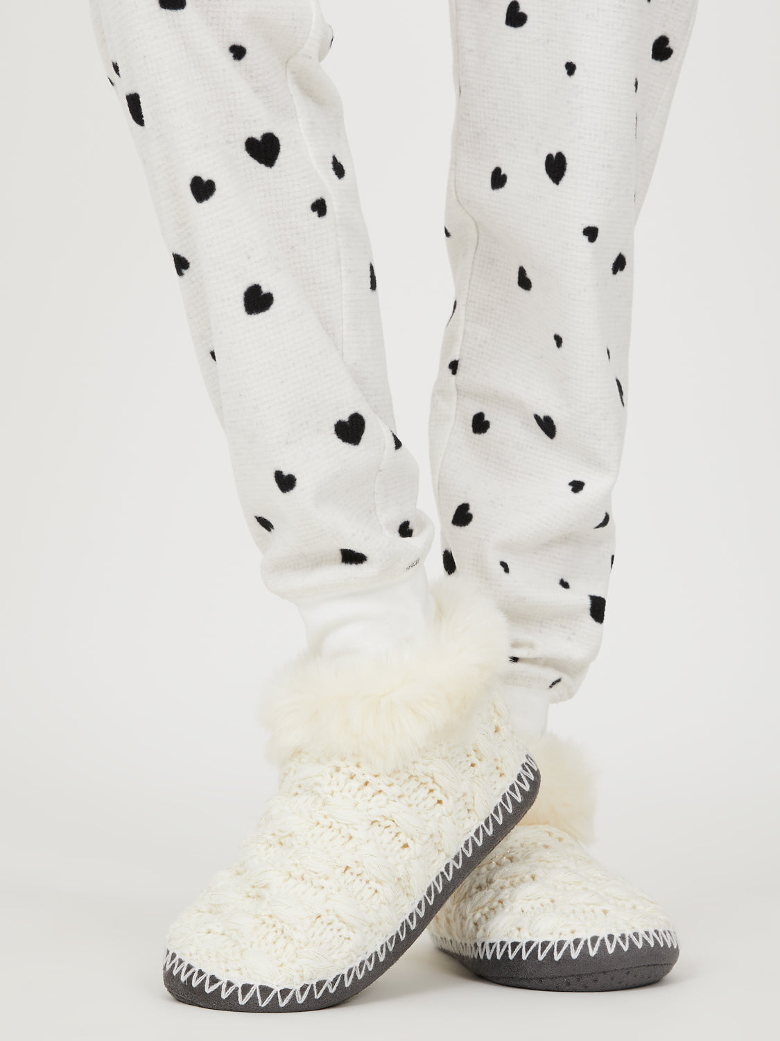 Cable Knit Faux Fur Slipper Bootie