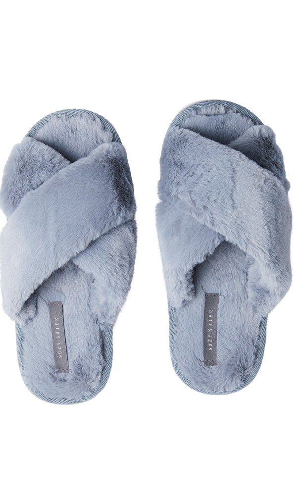Faux Fur Crisscross Slippers