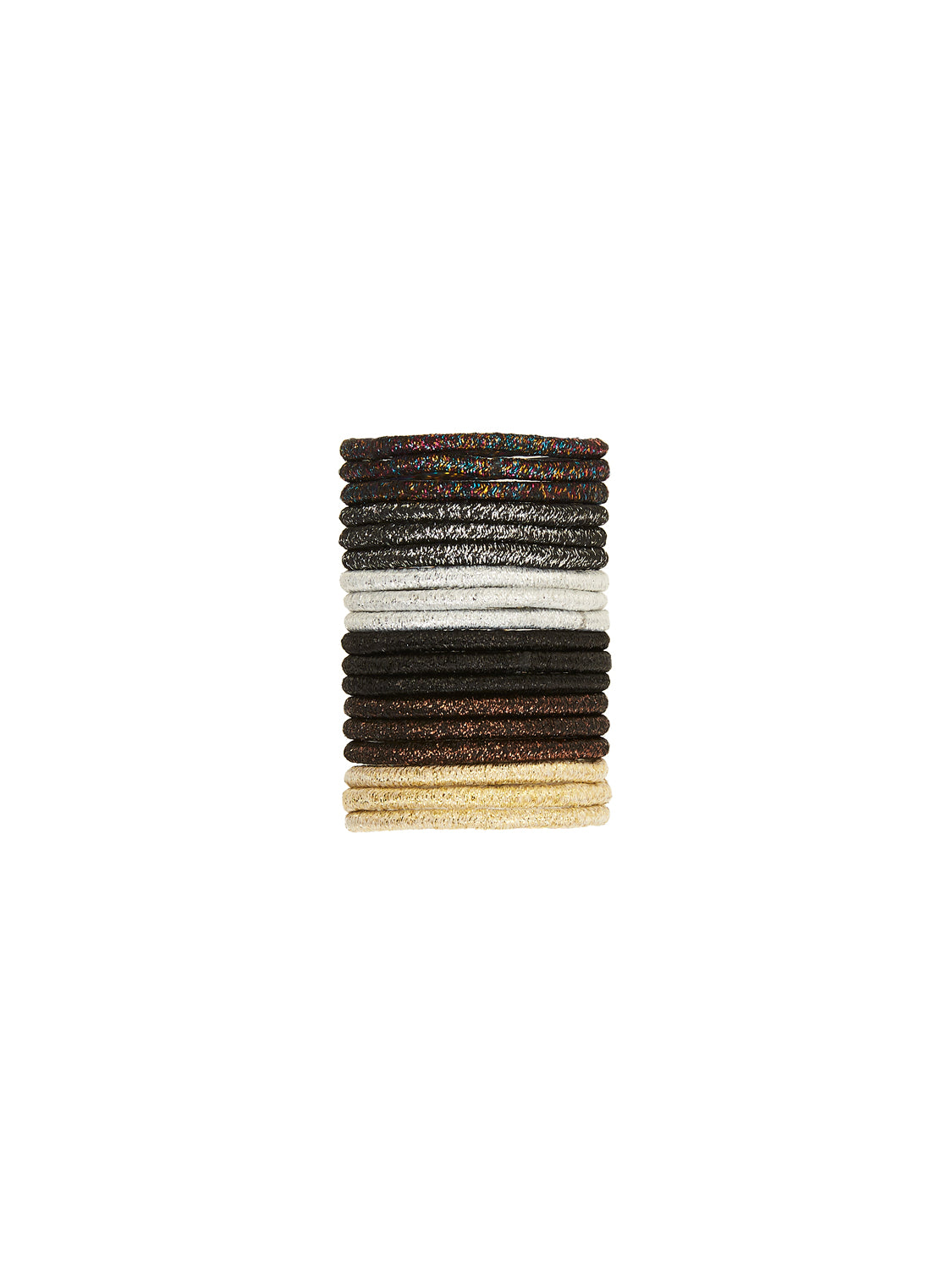18-Piece Metallic Hair Elastics