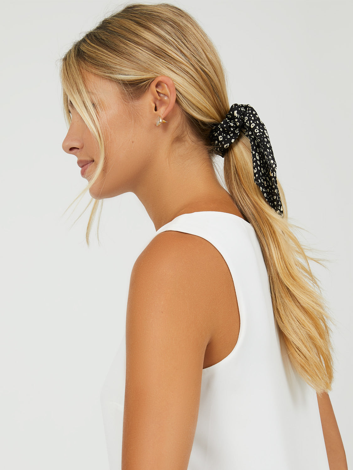 Monochrome Ditsy Floral Scarf Scrunchie