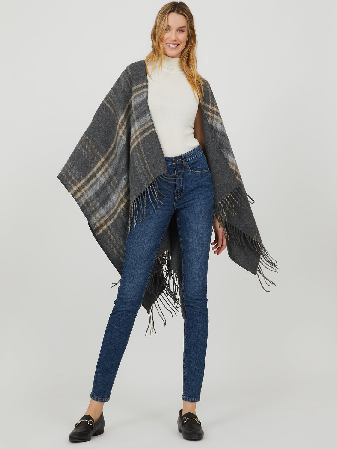 Glen Plaid Fringed Cape