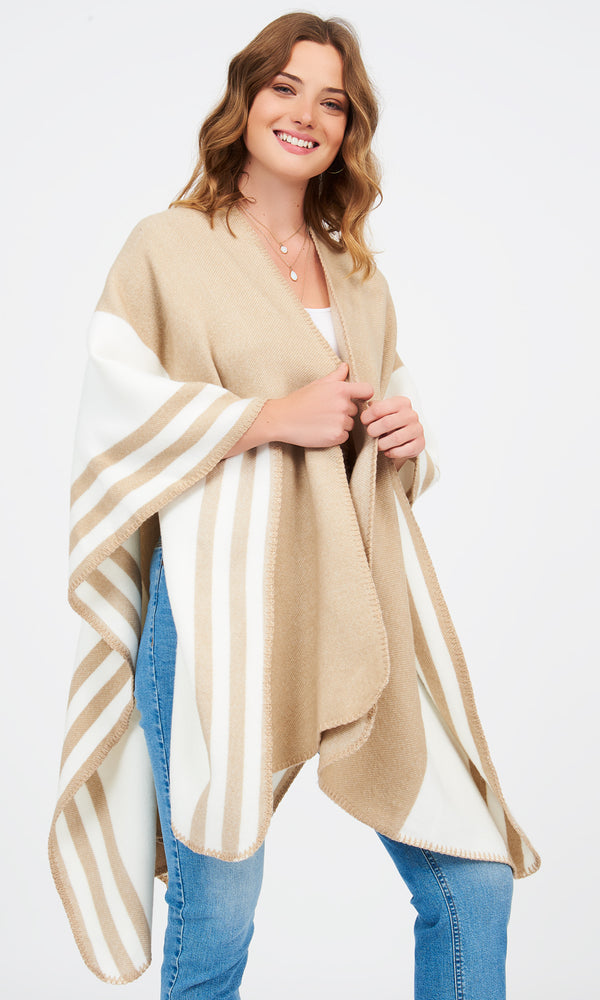 Striped Woven Cape