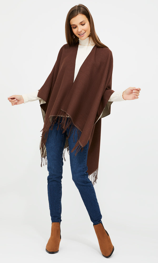 Reversible Cape With Fringes