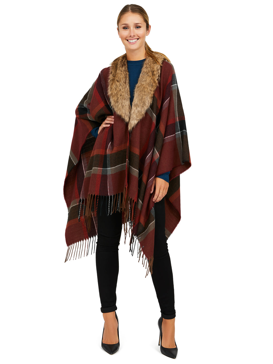 Faux Fur Madras Plaid Cape