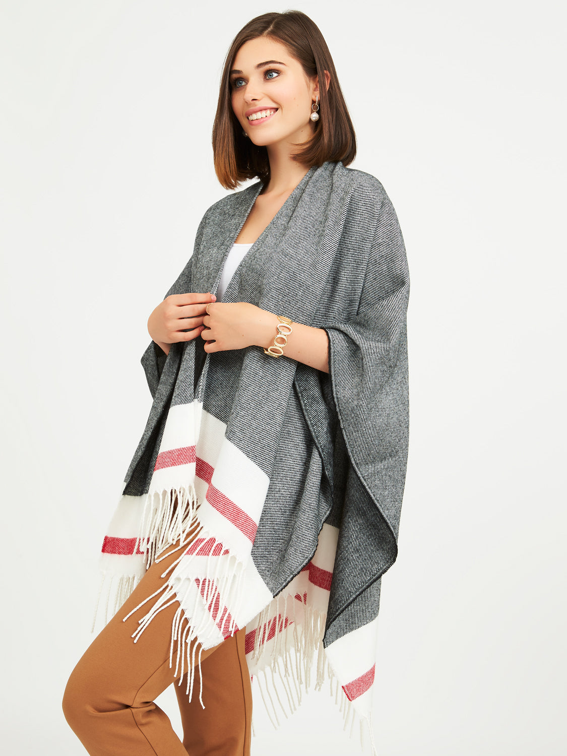Cabin Stripe Plaid Cape