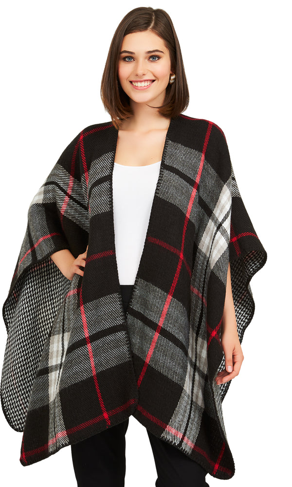 Reversible Houndstooth Plaid Cape