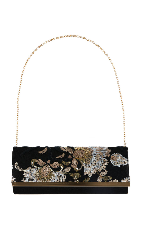 Embroidered Floral Sequin Clutch