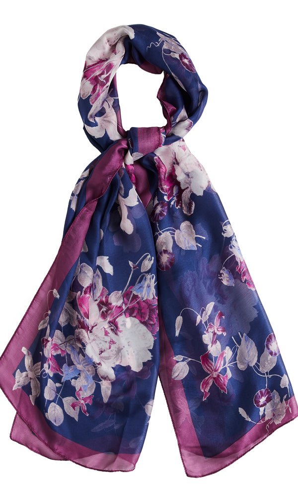 Woven Flower Scarf With Satin Border