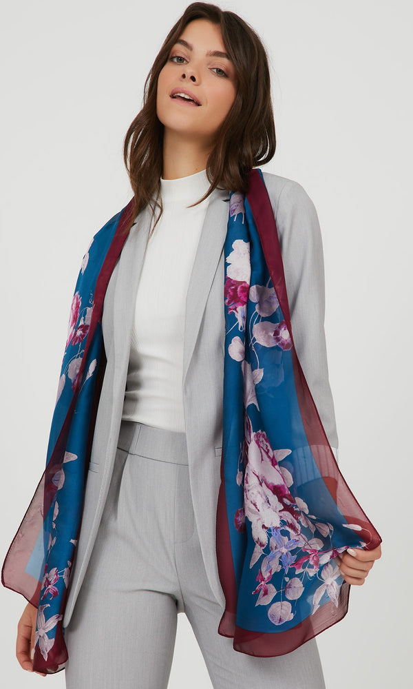 Floral Satin Scarf