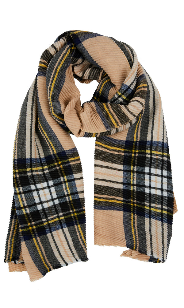 Pleated Plaid Blanket Scarf