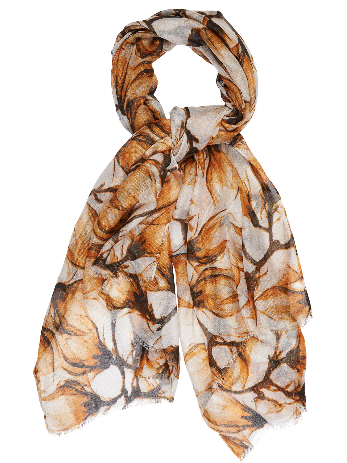 Metallic Yarn Floral Scarf