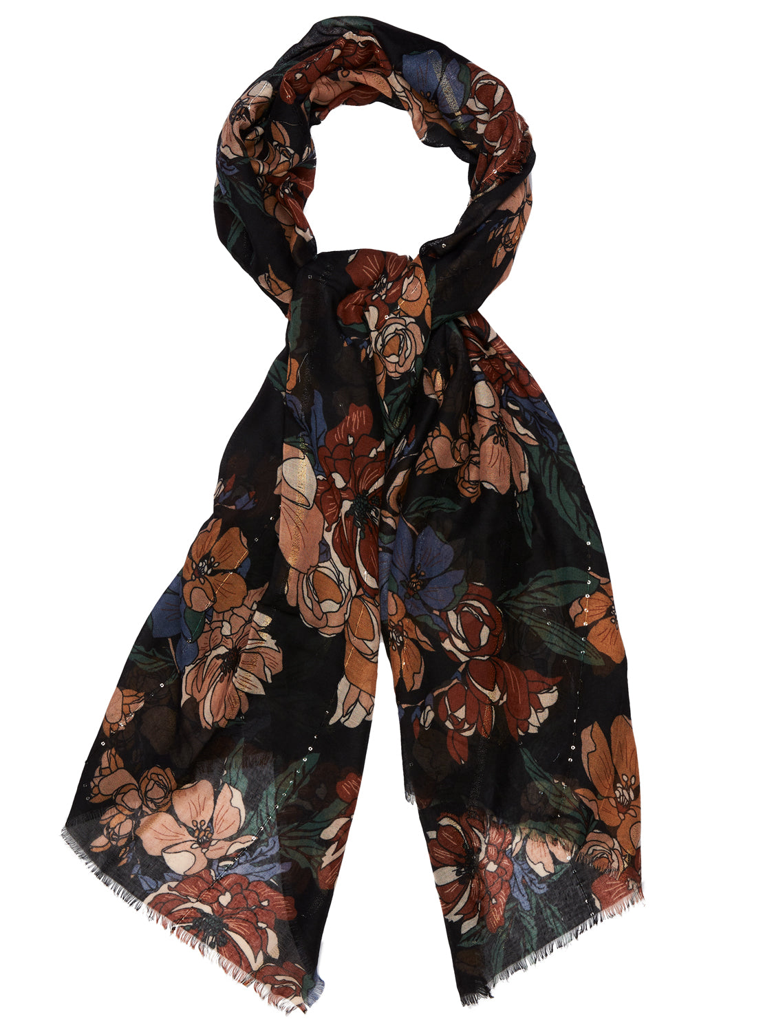 Autumn Flowers Print Scarf