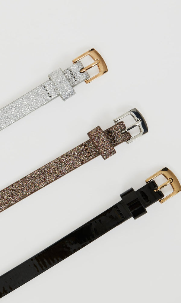 Set of 3 Glitter & Patent Skinny Belts
