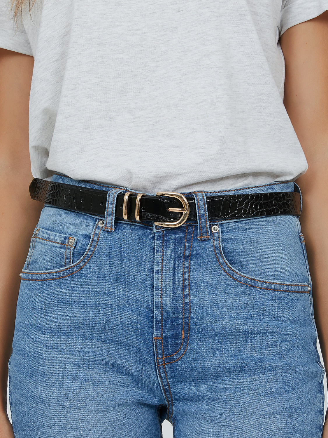 Croc Design Buckle Belt