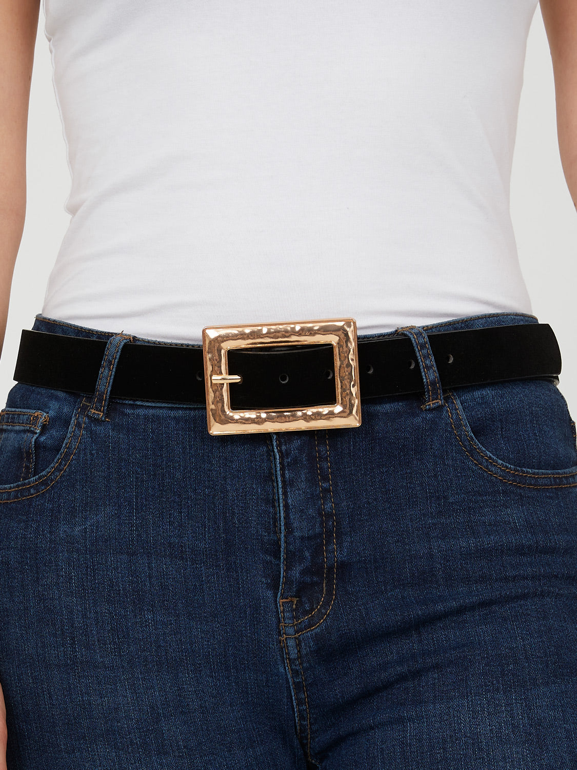 Gold Rectangle Buckle Belt