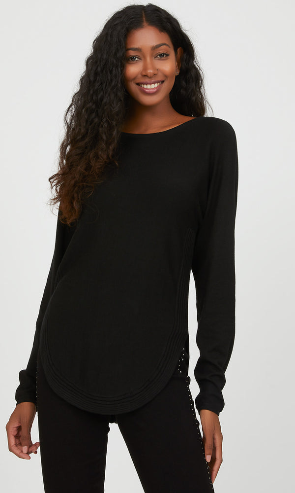 Round Hem Sweater with Back Zip Closure