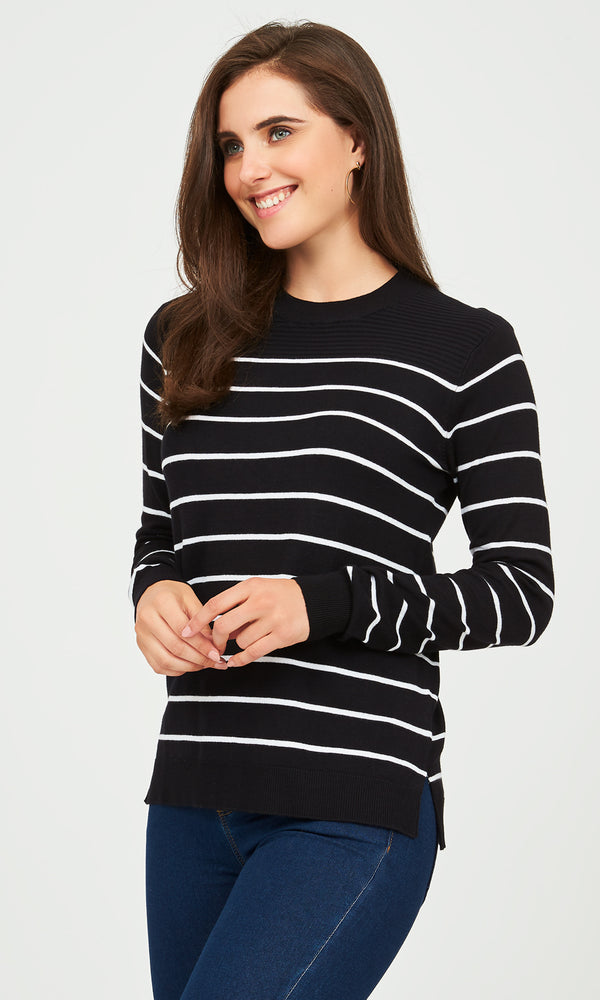 Striped Crew Neck Sweater With Ottoman Stitch