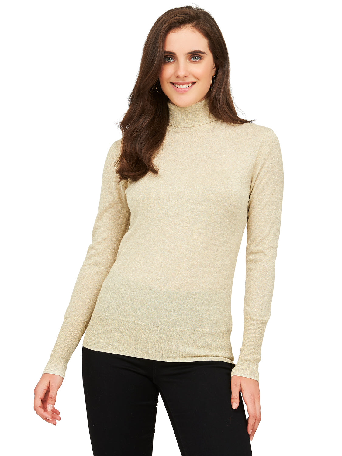Long Sleeve Metallic Knit Turtleneck