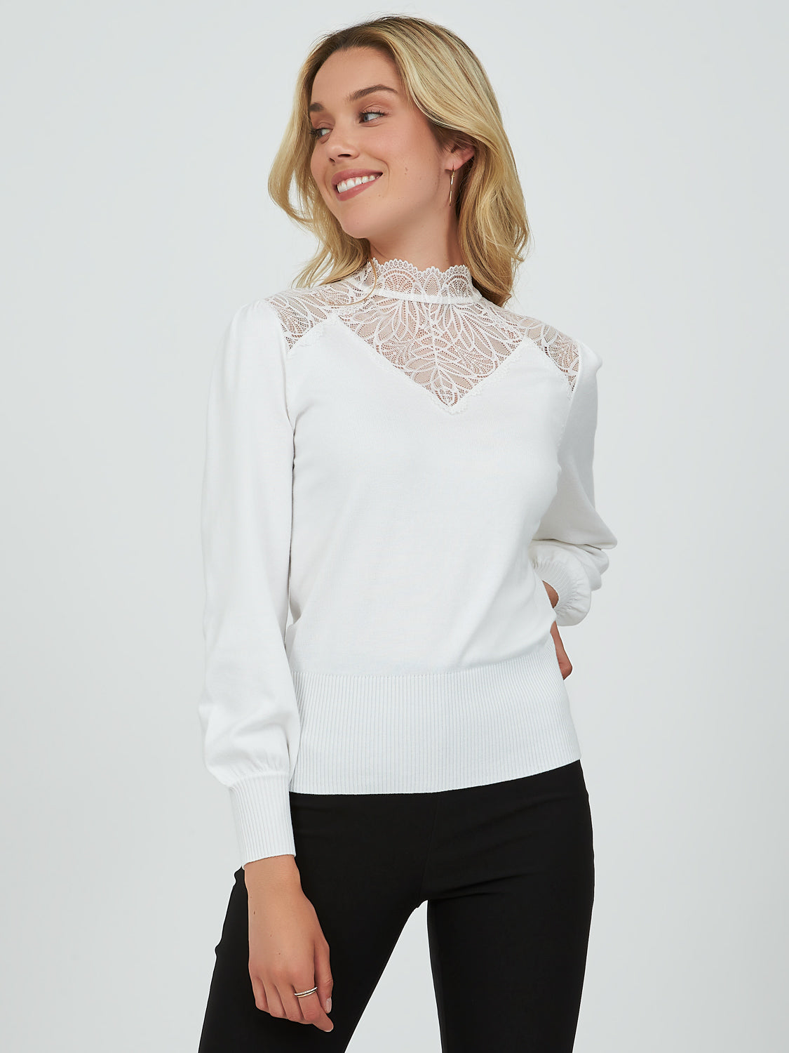 Ruffles & Lace Mock Neck Sweater Knit Top