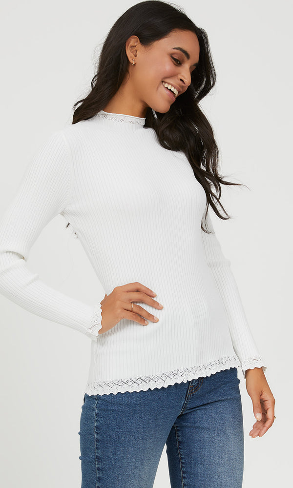 Rib Knit Ruffle Top