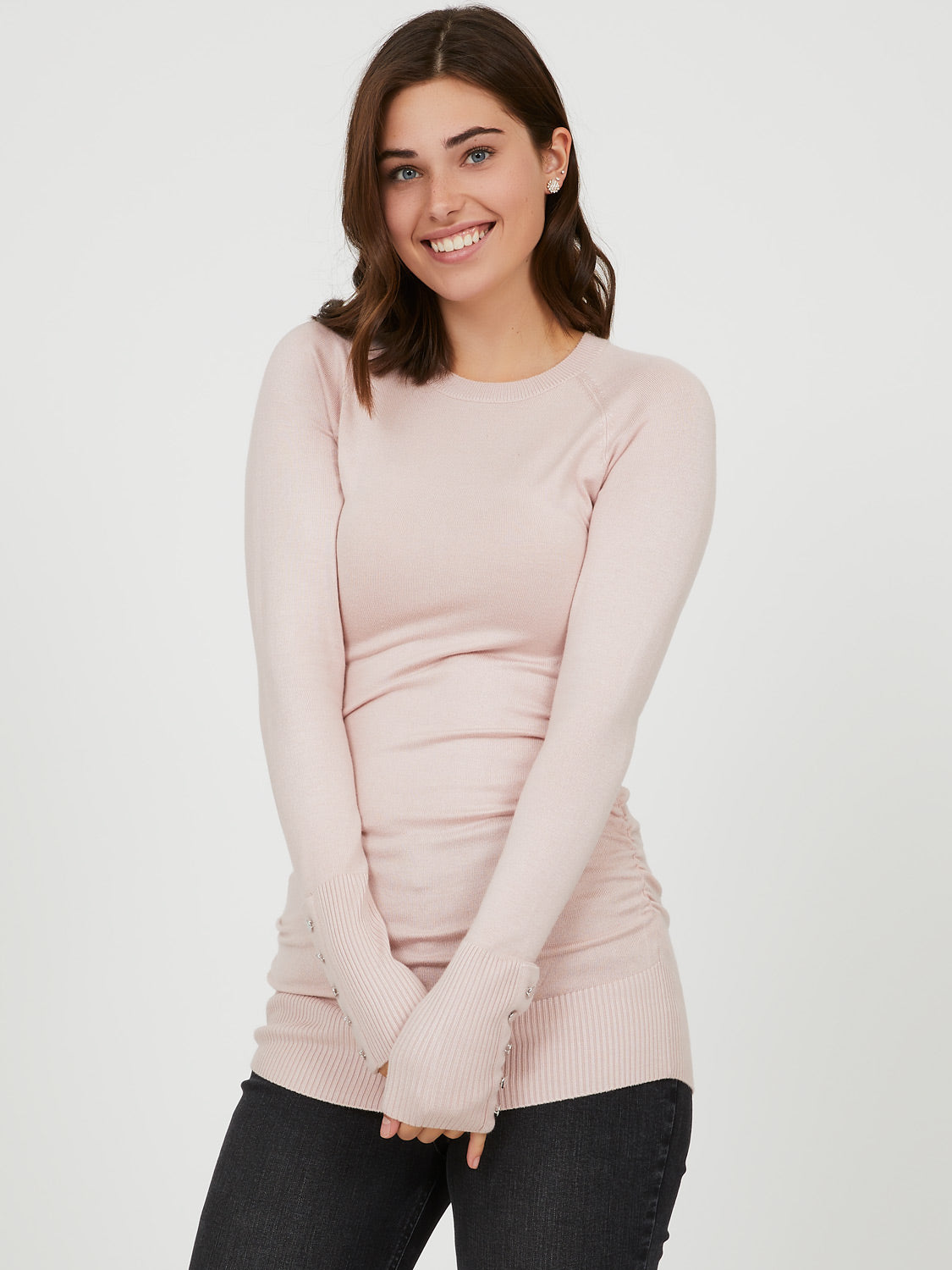 Ruched Sides Crew Neck Sweater