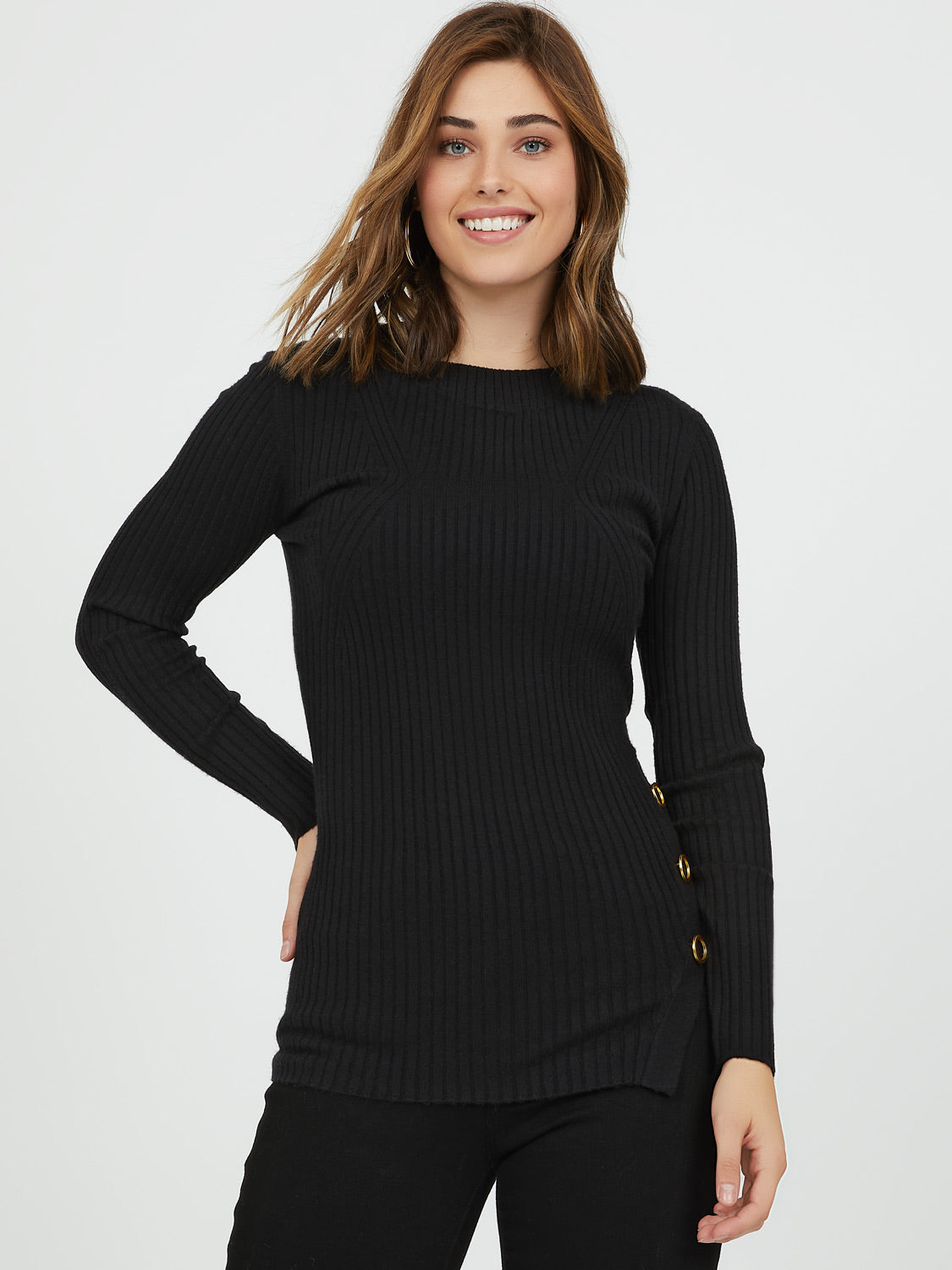 Rib Knit Grommet Sweater