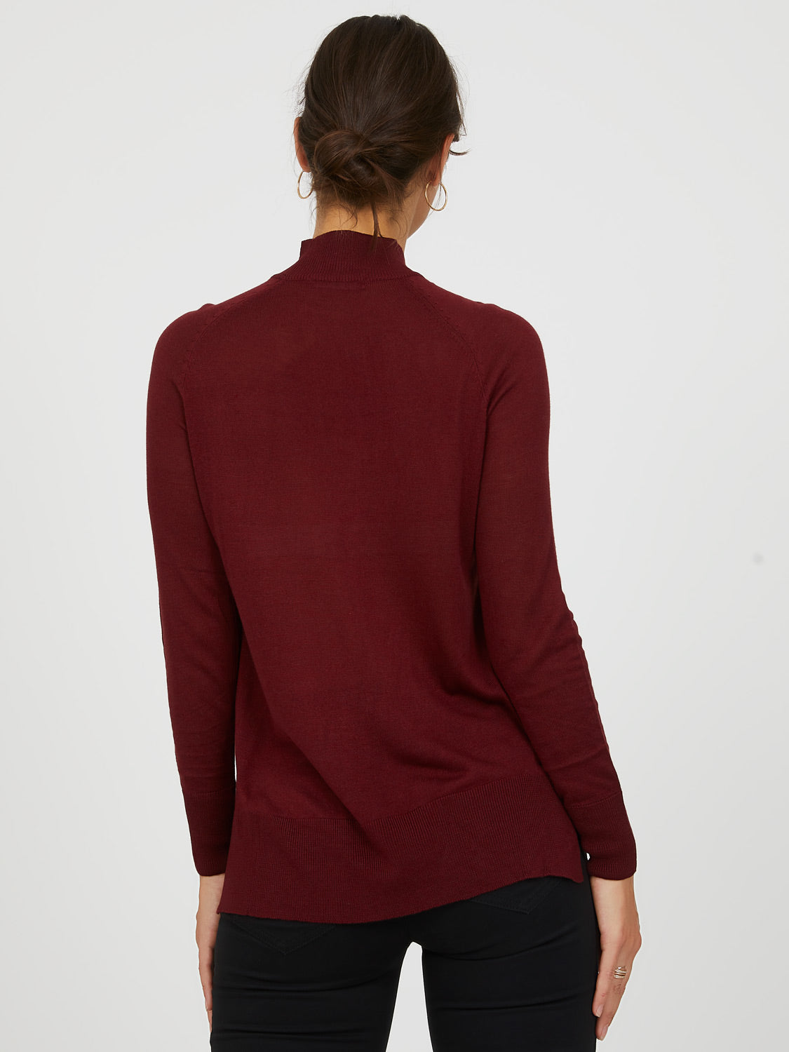 Boxy Mini Mock Neck Sweater