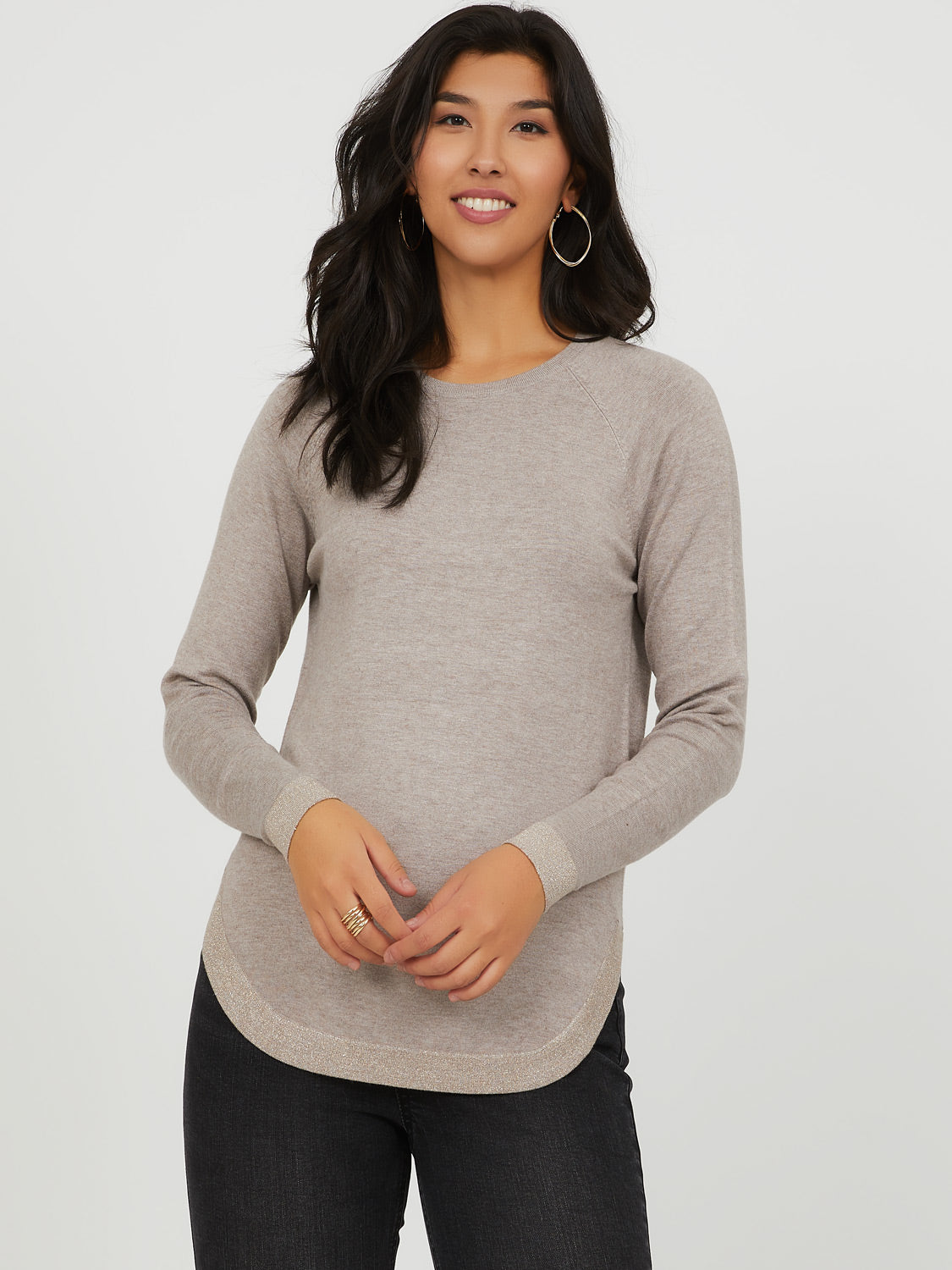 Metallic Trim Crew Neck Sweater