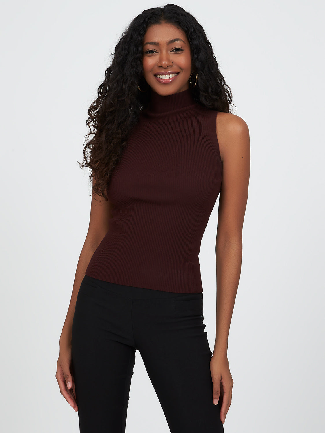 Ribbed Mock Neck Sweater Knit Top