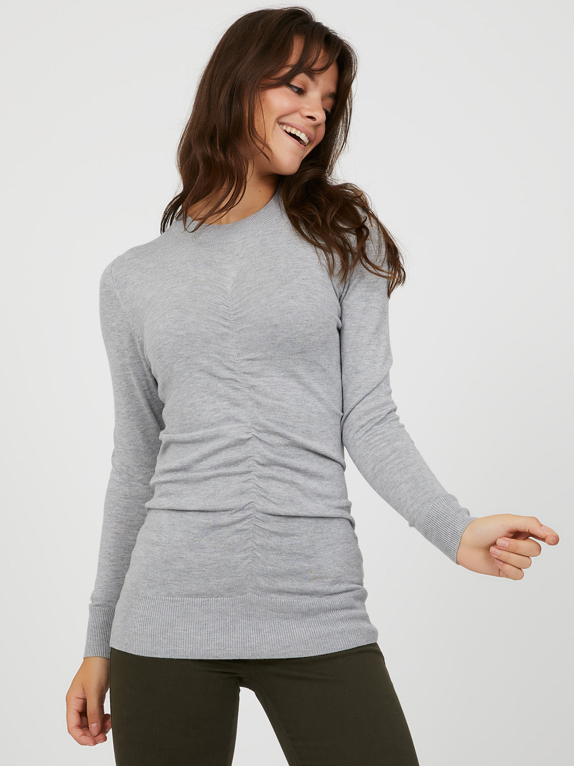 Ruched Front Sweater Knit Top