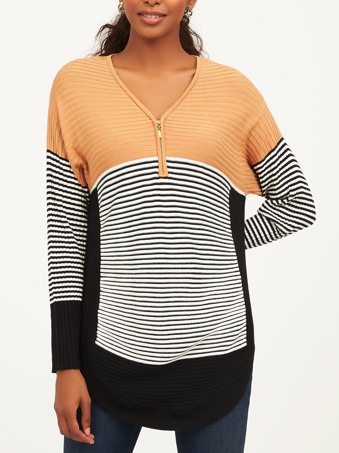 Long Sleeve Colour Block Sweater