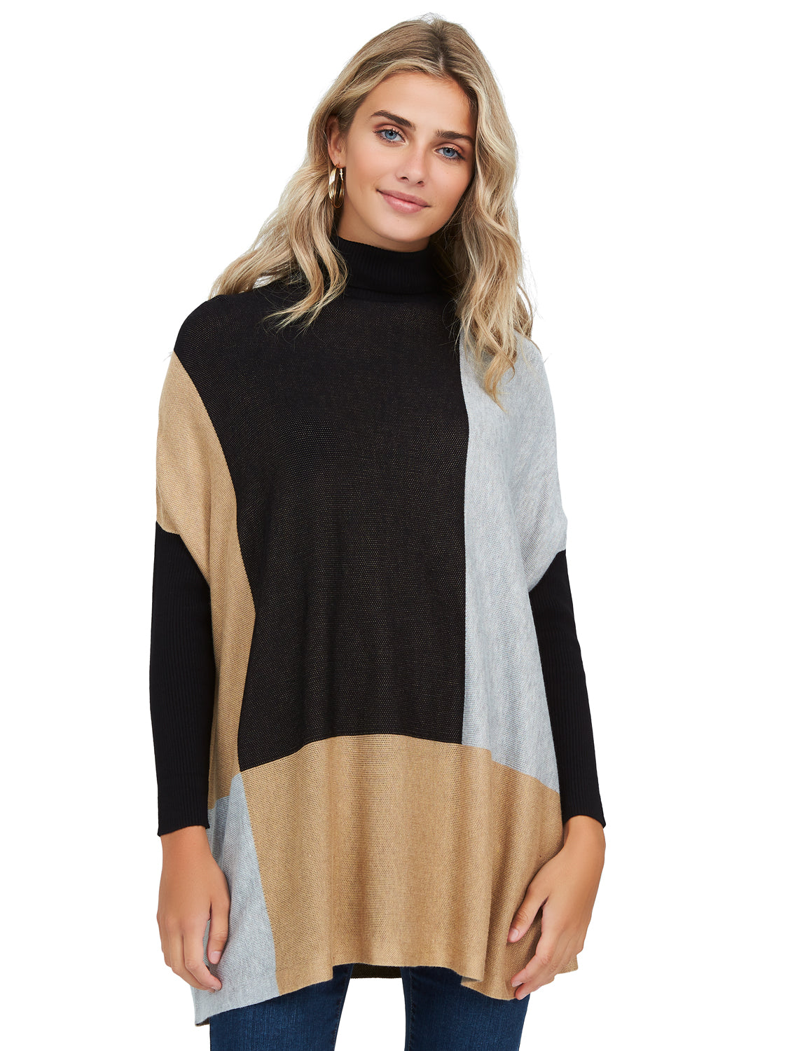 Colour Block Turtleneck Sweater Tunic