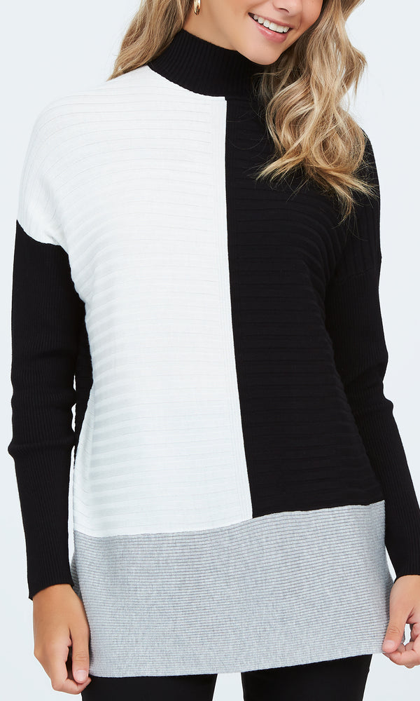 Long Sleeve Colour Block Sweater Tunic