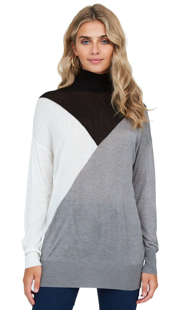 Knit Colour Block Turtleneck Sweater