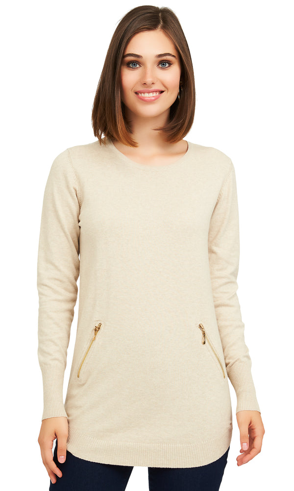 Long Sleeve Sweater With Faux Pockets