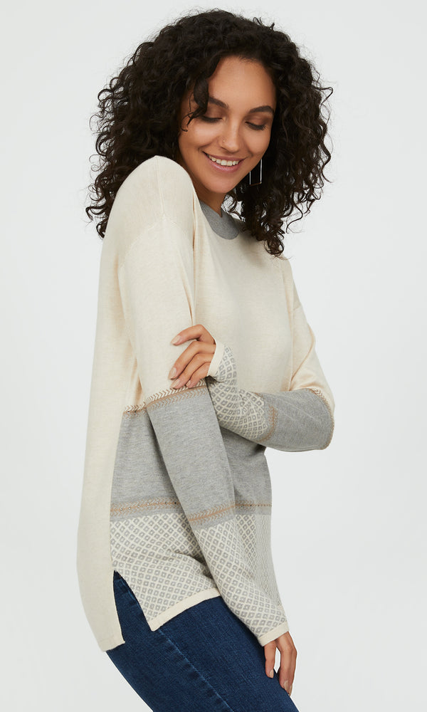 Cozy Patterned Cowl Neck Sweater