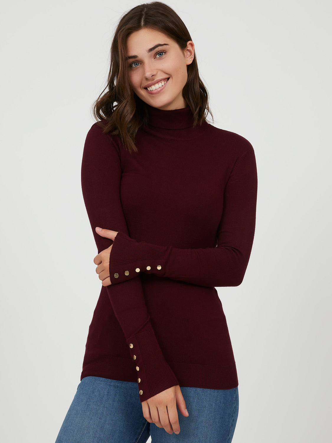 Snap Button Sleeve Turtleneck Sweater