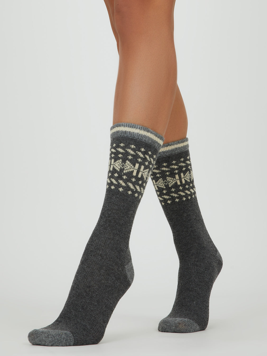 Pack of 2 Fairisle & Solid Crew Socks
