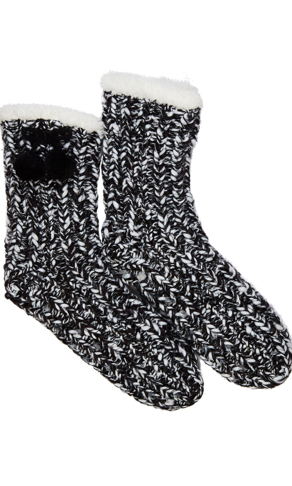 Marled Yarn Socks with Grips