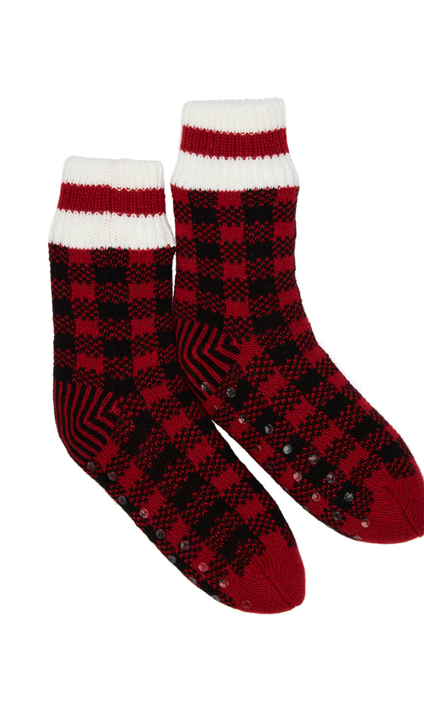 Lined Buffalo Check Socks With Grips