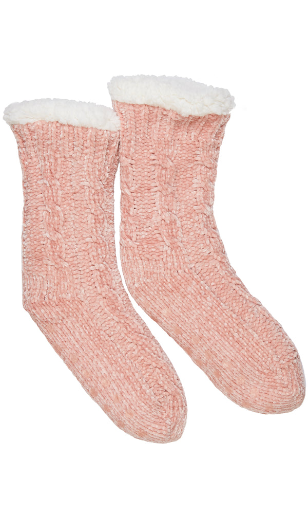 Lined Cable Knit Socks With Grips