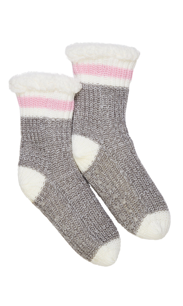 Chenille Cable Knit Socks With Grips