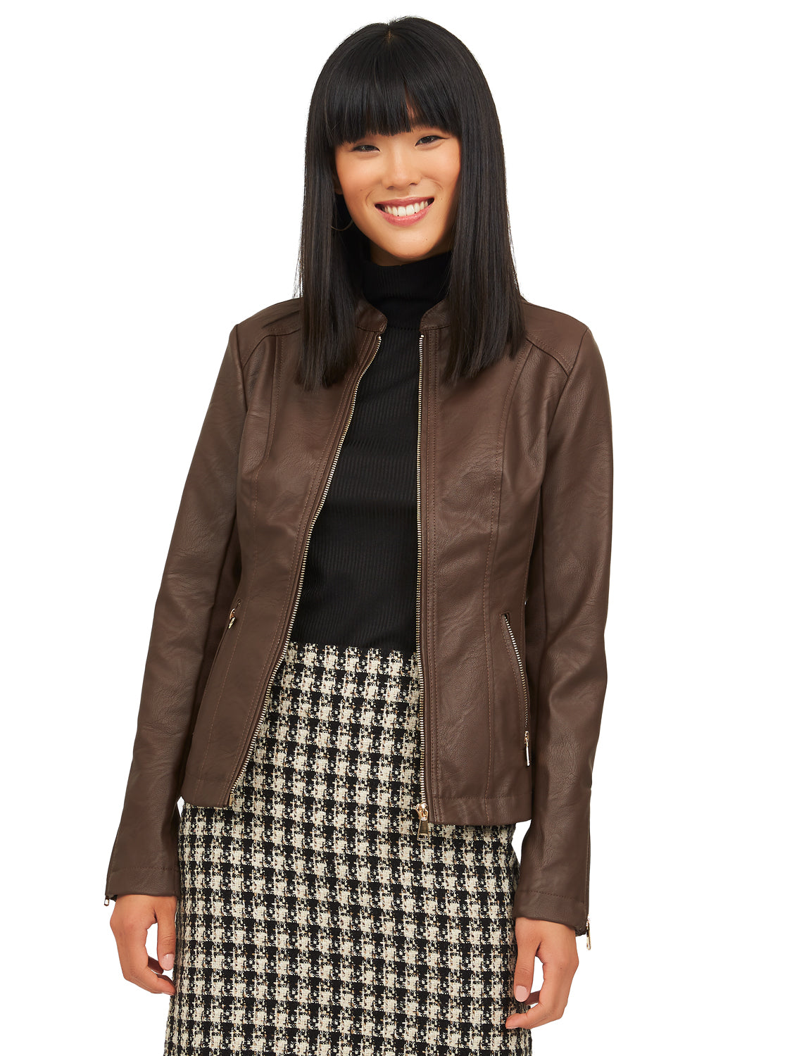 Side Ribbed Jacket With Front Zip-Up