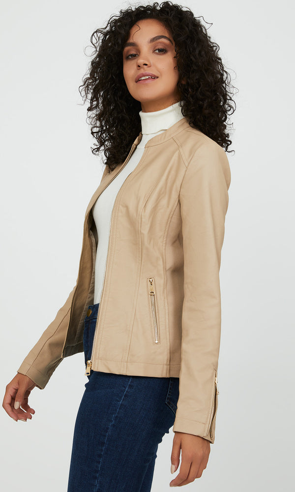 Ribbed Side Faux Leather Jacket