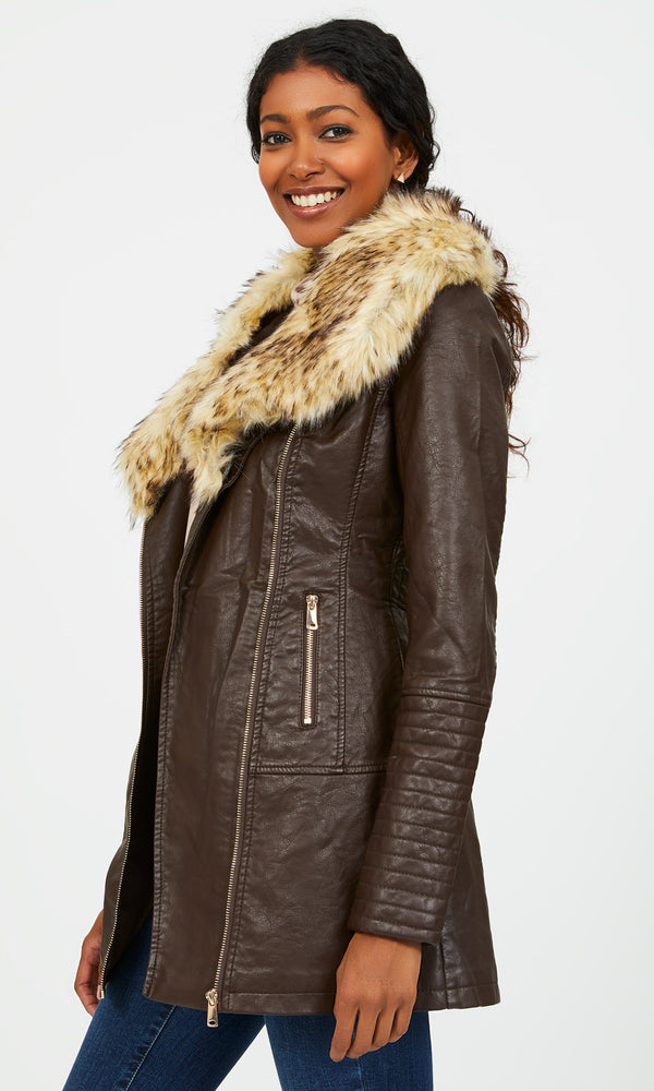 Faux Leather Faux Fur Jacket